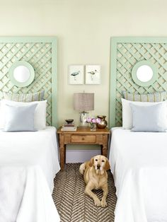 Using 1-by-4-inch boards, construct a frame with desired height and width. Have your hardware store cut a piece of garden lattice to fit within the frame and affix to back with finishing nails. Use a picture hanger to mount a small mirror three quarters of the way up the headboard.  For a tonal effect that adds depth without overpowering the space, choose two similar shades of one color. (Headboard: Haven, Sherwin-Williams; Wall: Apple Blossom, Benjamin Moore)