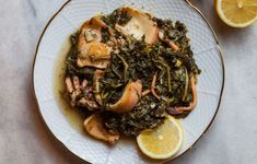 Cuttlefish with wild greens Cuttlefish, Greek Recipes, Japchae, Pot Roast, Paella, Seafood, Deserts, Good Food, Pork