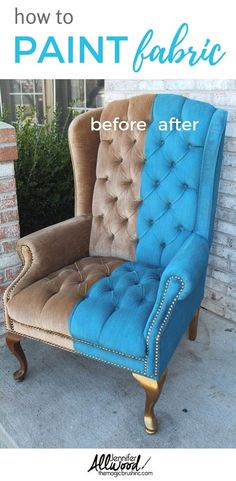 How to paint fabric and crushed velvet while keeping it soft! I have the best product for you to paint fabric chairs and sofas at theMagicBrushin.com - DIY projects and painting advice!