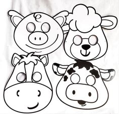 Kids love to color this set of 4 assorted farm animal masks are fun to wear after choosing to color the animal mask their way. Set of 4 farm animal masks craft inlcudes:1-pig, 1-lamb, 1-horse, 1-cow. and 4 latex elastic strings. So cute, how can you choose a favorite? Early childhood benefits:   dramatic play art/ colors science small motor/ manipulative imagination fun communication/ vocalize animal sounds making choices/ self esteem  Warning: not for children under age 3...
