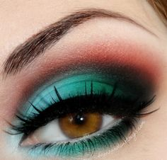 Bright teal and orange Chocolate #bright #smokey  #dark #glitter #bold #eye #makeup #eyes