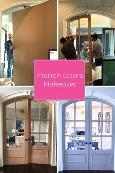 New French Doors for Home Office! From Dark and Dingy to a Bright and Feminine Home Office Makeover by Jennifer Allwood / Magic Brush Inc. Office Makeover, Door Makeover, Home Office Design, Home Office Decor, Office Setup, Office Designs, Diy Projects New, Feminine Home Offices, Small House Decorating