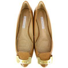 Diane Von Furstenburg Madison Honey Patent Shoes ❤ liked on Polyvore