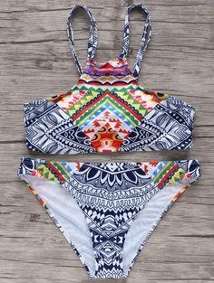 High-Neck Printed Bikini Set