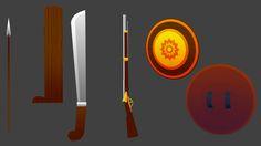 3d model senjata kartun, aneka senjata yang saya buat bersama tim dalam project 3d animasi