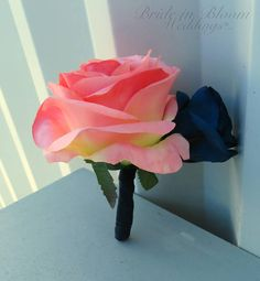 Coral & Navy blue rose Boutonniere  Wedding boutonniere Silk