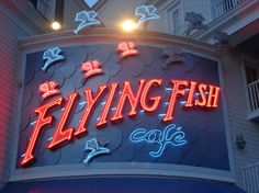 Flying Fish Cafe - Disney's Boardwalk effectively recreates this setting not only with a distinct look and feel found in the resort's architecture and décor but also with its nightly entertainment on the boardwalk and wide array of dining options. When it comes to dining, Disney's Boardwalk offers something for everyone. The crown jewel of the Boardwalk's restaurants, however, is the Flying Fish Café.