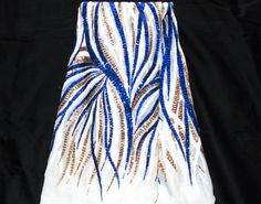 African lace fabric/ Blue Gold Sequins by TessWorldDesigns on Etsy
