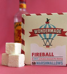 Fireball marshmallows for hot beverages, delicious layered with chocolate for gourmet s'mores or a treat roasted over the campfire! More unique flavors available. YUM!