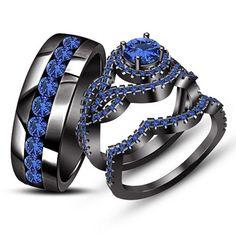 2.48Ct Blue Sapphire Trio Set His Her Ring Wedding Band Black Gold FN 925 Silver #aonedesigns #WeddingAnniversaryEngagement