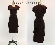 40s Party Dress XS / 1940s Back Button Down Dress by CrushVintage, $224.00