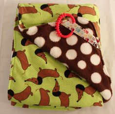 Baby Blanket Dachshund Flannel and Brown Polka Dot Cuddle Fabric 28 x 33 inches Baby Dachshund, Generation Gap, Polka Dot Background, Binky, Toddler Outfits, Cuddle, Baby Shower Gifts, Cute Babies, Flannel