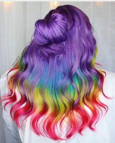 #haircolor Beauty: Fantasy Unicorn Purple Violet Red Cherry Pink yellow Bright Hair Colour Color Coloured Colored Fire Style curls haircut lilac lavender short long mermaid blue green teal orange hippy boho ombré woman lady pretty selfie style fade makeup grey white silver trend trending multi confetti hairdresser hairdresser haircut haircuts appearance styling image rainbow Pulp Riot