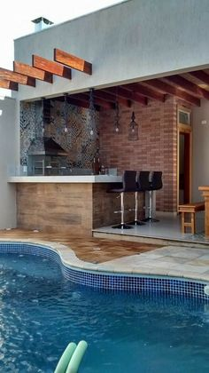 #pool #piscina #luxoryhouses Cool Swimming Pools, Swimming Pool Designs, Backyard Pool Designs, Backyard Patio, Outdoor Kitchen Design, Patio Design, Landscaping Design, Kleiner Pool Design, Small Pool Design