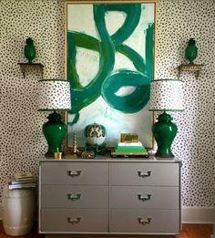 Design Crush: Parker Kennedy Living- The Glam Pad wallpaper green wall brackets custom lamp shade