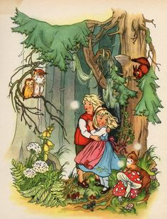 paintings from an old edition of Grimm's fairy-tales. The illustrator's name is not mentioned on the book.