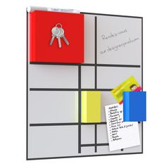 Composition inspired by the works of Mondrian.  This table has 3 magnets. The red key is used to support magnet. Yellow is used to clear brush your notes. And serves as a magnet blue clipboard.    He will find a place in your driveway or on your desktop. Opportunity to ask or fix. Other colors available.    Contact: coedition.prod@gmail.com