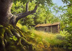 Jan Fekjan: Sommerfjøs, Nedre Ono Living Room Art, Giclee Print, Fine Art, House Styles, Prints, Artist, Home Decor, Homemade Home Decor, Salon Art