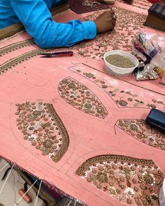 Image may contain: people sitting, table and indoor Zardosi Embroidery, Embroidery On Kurtis, Hand Embroidery Dress, Kurti Embroidery Design, Bead Embroidery Patterns, Embroidery Works, Hand Embroidery Designs, Embroidered Blouse, Fancy Blouse Designs
