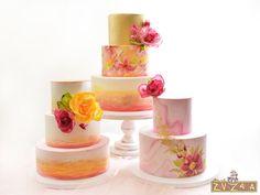 Watercolor Wedding Cakes by Nasa Mala Zavrzlama - http://cakesdecor.com/cakes/242130-watercolor-wedding-cakes