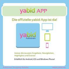 Uns gibt es ab jetzt auch als #App!!! Neuigkeiten zu #Deals #Auktionen #Shopping und #Rabatten findet Ihr unter Yabid in #IOS, #Android und #WindowsPhone. Hol dir was DU willst, wann Du willst. Auch mobil! www.yabid.net