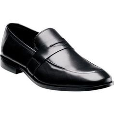 $125, Florsheim Jet Penny Black Smooth Leather Penny Loafers. Sold by Shoebuy. Click for more info: https://lookastic.com/men/shop_items/69887/redirect