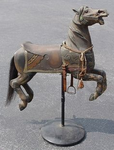 : ANTIQUE CARVED CAROUSEL HORSE :