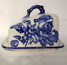Blue and white ceramic cheese dish by MaisonMaudie on Etsy