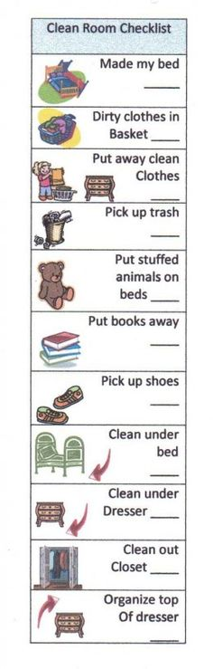 Clean your room check list for kids! Laminate and use a dry erase marker