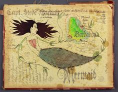Scott's Stede Bonnet-inspired map uses the inside of an old ledger book as a canvas. Capt. Stede Bonnet sighting the mermaid off the coast of Barbados, near Bathsheba.