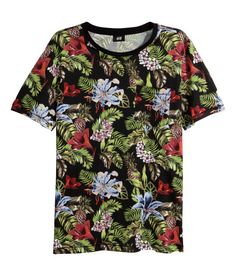Floral print t-shirt in cotton jersey with a breast pocket H&M