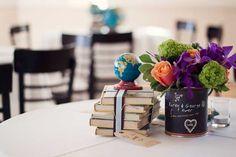 School themed wedding complete with books, globes, and chalk board paint! #wedding #weddingtheme #weddingdecor