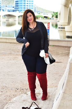 plus size wide calf boots thigh high boots red boots fall 2014 plus size outfit ootd