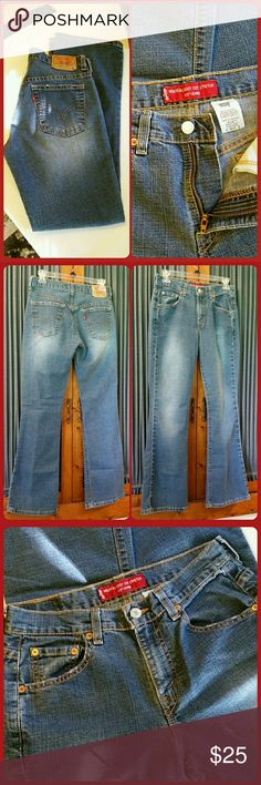 "NWOT ~ Levi's 515 Stretch Denim Jeans Levi's 515 Nouveau Boot Cut Jeans. Low rise, 5 pocket, stretch denim. 87% cotton, 12% polyester, 1% spandex. Waist measures 13.75"" across flat, rise 9.25"", inseam 29.5"". New without tag. Levi's Jeans Boot Cut"