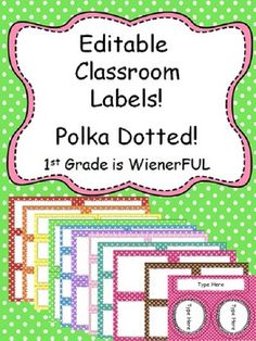 Editable Polka Dotted sizes per color + long rectangle and circles! Classroom Labels, Classroom Organisation, Classroom Posters, Classroom Themes, School Classroom, Classroom Tools, Music Classroom, Classroom Resources, Polka Dot Labels