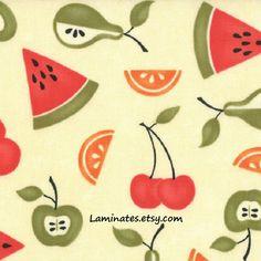 3/4+yard+REMNANT+Sassy+Fruit+LAMINATED+cotton+fabric+by+Laminates,+$10.00