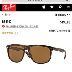 Ray-Ban Sunglasses 4147 Brown POLARIZED Gently worn and in almost perfect condition, authentic Ray Ban sunglasses including original case and cloth, POLARIZED!!! Brown / tortoise colored, Originally bought for $190 from Rayban Ray-Ban Accessories Sunglasses
