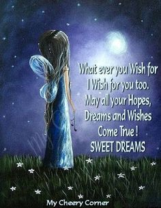 Sweet Dreams! What ever you wish for, I wish for you, too! May all your Hopes, Dreams, and Wishes Come True!!!  SWEET DREAMS!  #Quote  #Fairy