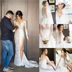 2017 New Full Lace Split Wedding Dresses Illusion Back Bridal Gowns with Detachable Satin Skirt The wedding dresses are fully lined 4 bones in the bodice chest pad in the bust lace up back or Long Wedding Dresses, Long Sleeve Wedding, Bridal Dresses, Wedding Gowns, Bridesmaid Dresses, Prom Dresses, Lace Wedding, 2 In 1 Wedding Dress, Wedding Ceremony