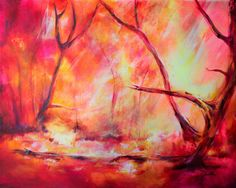 Autumn Forest Landscape Painting by Claudelle Girard