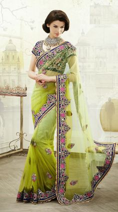 Light Green Net Saree MS642708