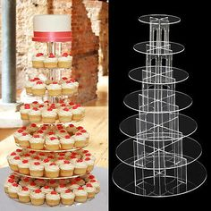 7 tier circle #clear acrylic cupcake #party & wedding cake #tower stand ,  View more on the LINK: http://www.zeppy.io/product/gb/2/381140527312/