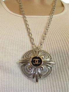 Chanel Authentic Chanel Button Repurposed on a Vintage Silver Tone Necklace