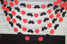 Red lips and black mustaches garland, lips garland, mustache garland, wedding garland banner, bridal shower garland, party decorations