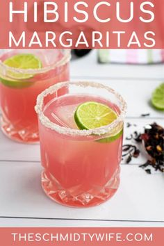 A pink and tropical take on the classic margarita. This Hibiscus Margarita Recipe takes on a sweet floral yet also tart flavor! A perfect refreshing drink thanks to the popular herbal hibiscus tea! Cocktails For Parties, Tea Cocktails, Summer Cocktails, Cocktail Recipes, Popular Cocktails, Craft Cocktails, Mojito Recipe, Margarita Recipes, Margaritas