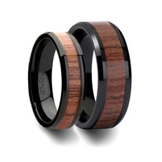 Matching Rings Set Black Ceramic Anniversary Band with Bevels and Rosewood Inlay - 6mm & 8mm
