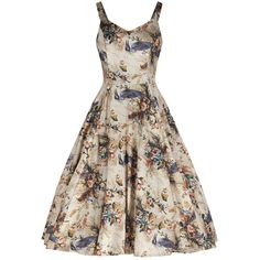 Natural Bird Print Swing Cotton Swing Dress