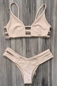 Elastic Spaghetti Straps Solid Color Bikini Set - YELLOWISH PINK M