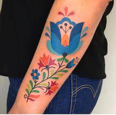 WEBSTA Folky flowers for Lydia! Thanks a ton! I love this style! Whale Tattoos, Love Tattoos, Tattoo You, Beautiful Tattoos, Body Art Tattoos, New Tattoos, Tatoos, Swedish Tattoo, Hungarian Tattoo