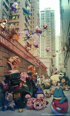 thecyberwolf:  Wild Pokemon Living in the City Created by Jamal...